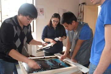 Students setting up a new print
