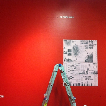 Chalk-lines in the exhibition indicate historic floods, which were the main topic of studio research and project site development.