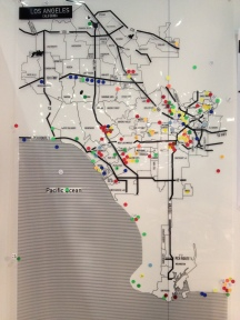 Map of Los Angeles populated with the color coded sticky dots correspondent to our Menu of Urban Features. Visitor expressed their impressions on the neighborhoods of L.A. We will elaborate the information to develop graphic maps to be impressed on the base materials (leather, vinyl) that will then be folded into bags, our maps-a-porter!